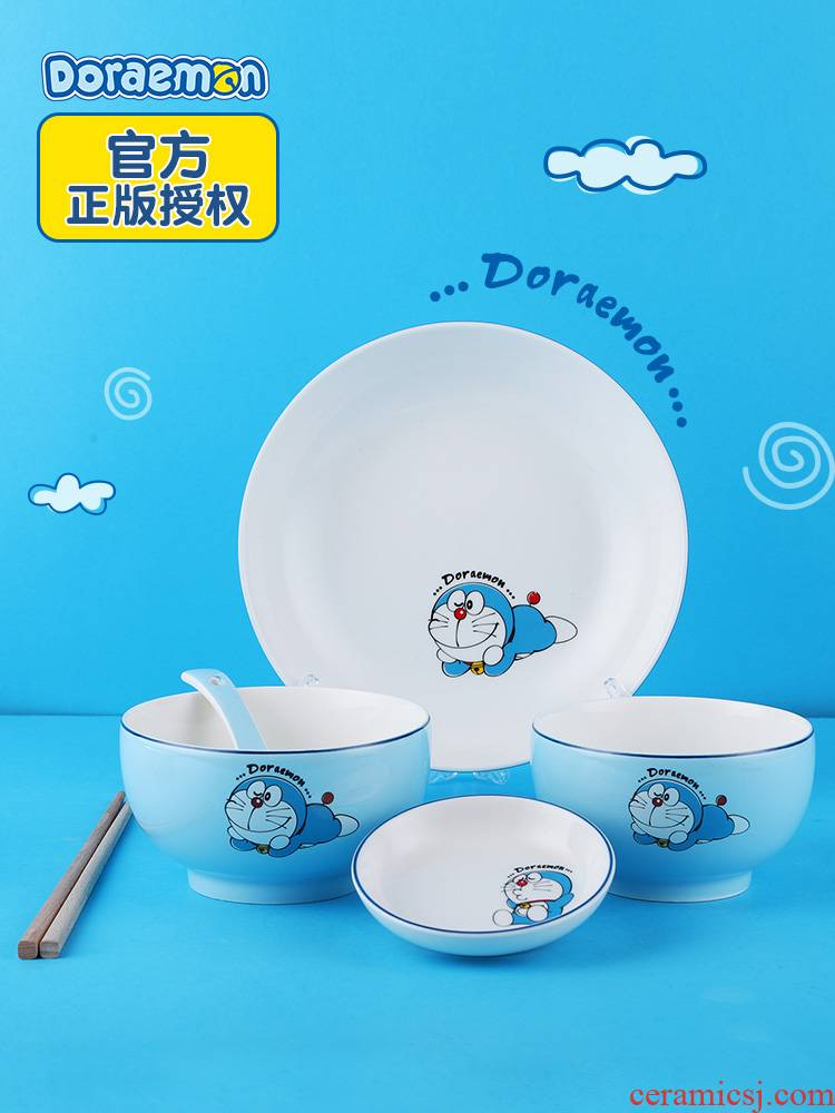 Doraemon ceramic tableware feed one person household cartoon Doraemon rice bowl chopsticks dish suits for the the original official authorization