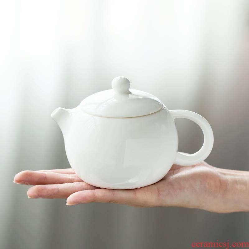 Dehua white porcelain porcelain constant hall xi shi ceramic teapot single pot of household kung fu tea set jade porcelain filtering teapot