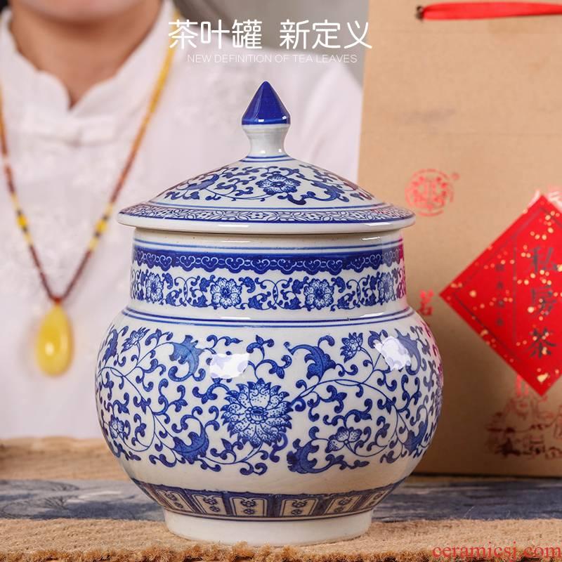 Jingdezhen porcelain tea pot ceramic large 1 catty puer tea cylinder seal storage and receives moistureproof tea set