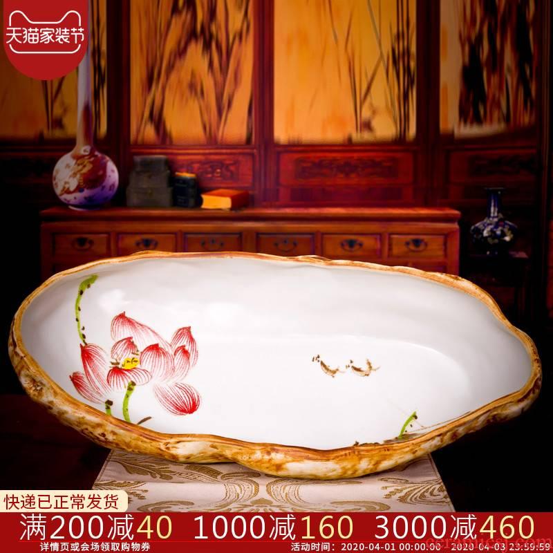 Jingdezhen ceramic aquarium classical imitation stone turtle hand lotus lotus goldfish bowl bowl lotus basin to breed fish h2