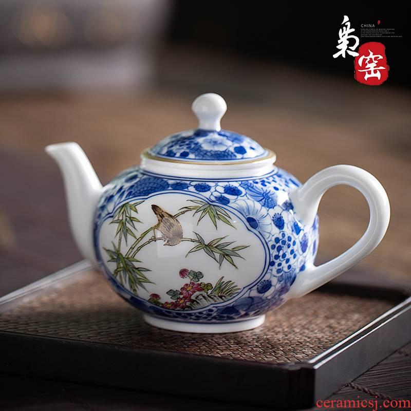 Hand - made porcelain of jingdezhen ceramic teapot pure manual kung fu tea set household single pot boil tea teapot tea taking