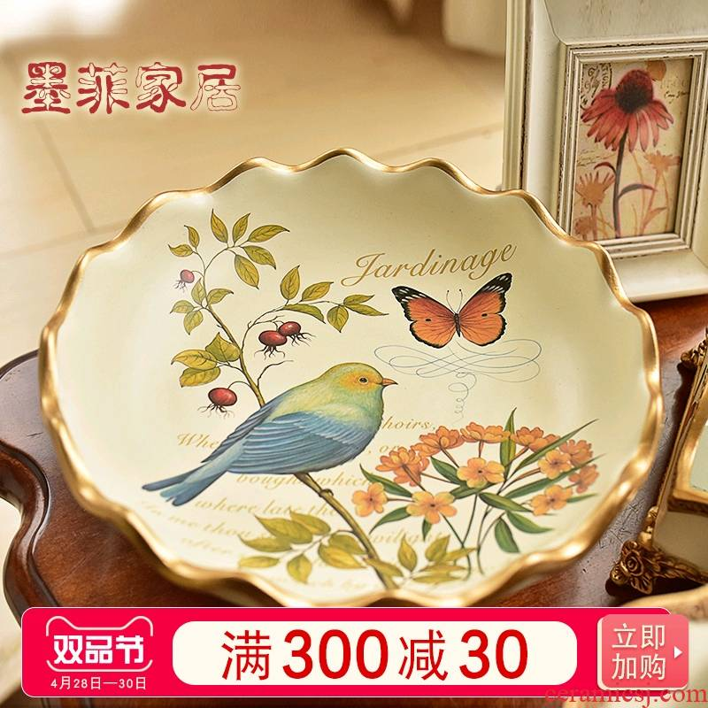 American compote ceramic fruit bowl Europe type restoring ancient ways furnishing articles home sitting room tea table decorations' lads' Mags' including nuts key-2 luxury tray