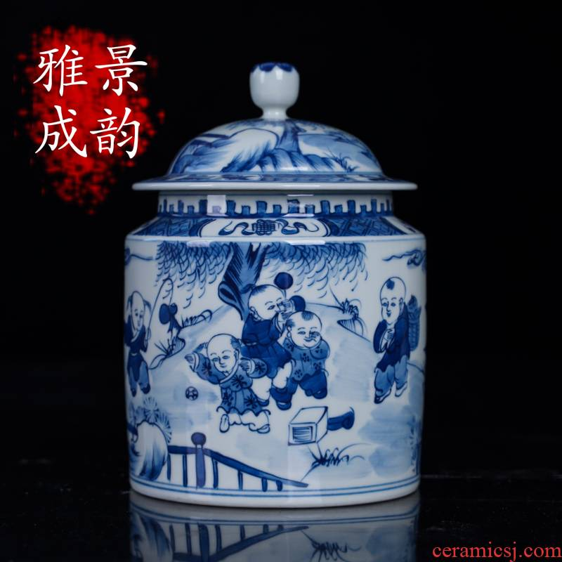 The New Chinese blue and white porcelain of jingdezhen ceramic tong qu caddy fixings general storage tank large place to live in the living room