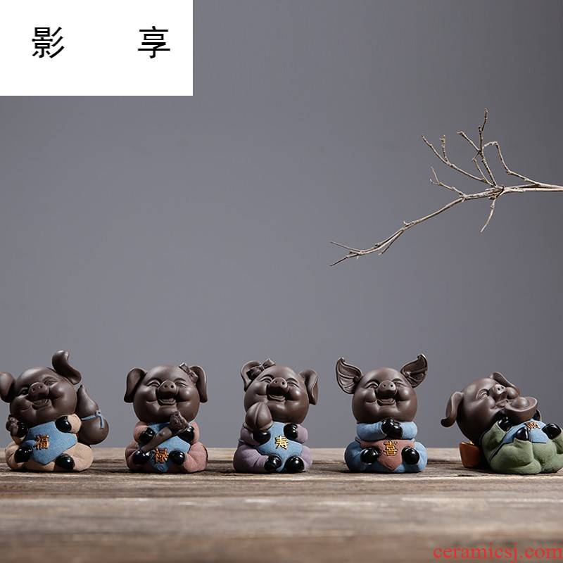 Shadow enjoy kung fu tea accessories color sand pottery pet pig tea tea tea tea tray was furnishing articles household act the role ofing is tasted CHT