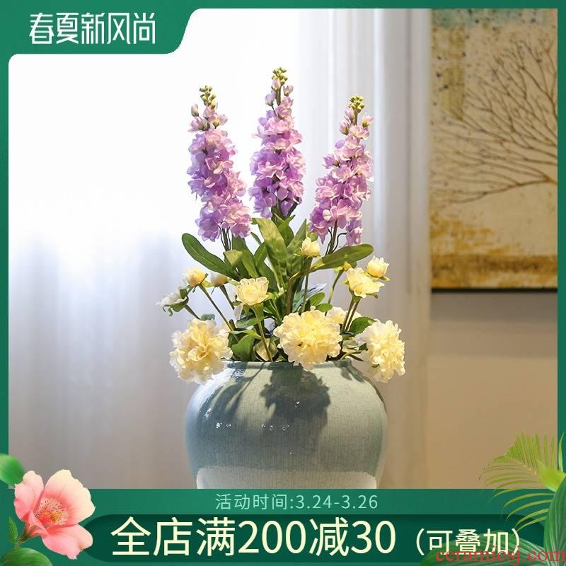 Mesa of jingdezhen ceramic vase sitting room hotel villa decoration decoration flower implement crack glaze furnishing articles simulation flower art