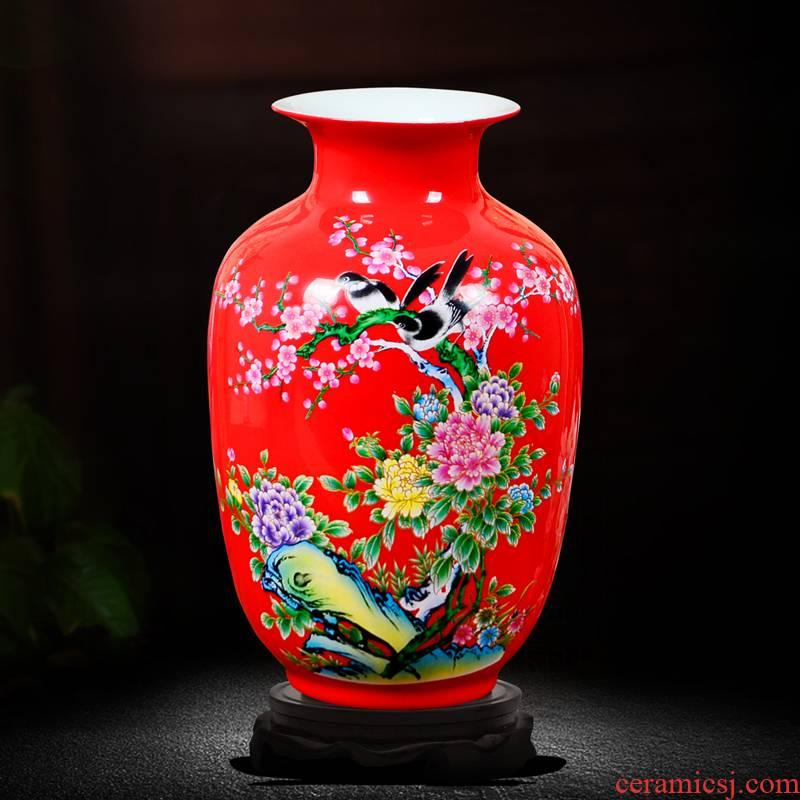 Jingdezhen ceramics powder enamel floret bottle of flower arranging dried flowers home sitting room rich ancient frame TV ark adornment small place