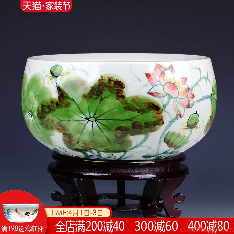 Jingdezhen ceramics famous masterpieces of pure hand - made lotus sitting room aquarium tortoise cylinder shallow daikin furnishing articles