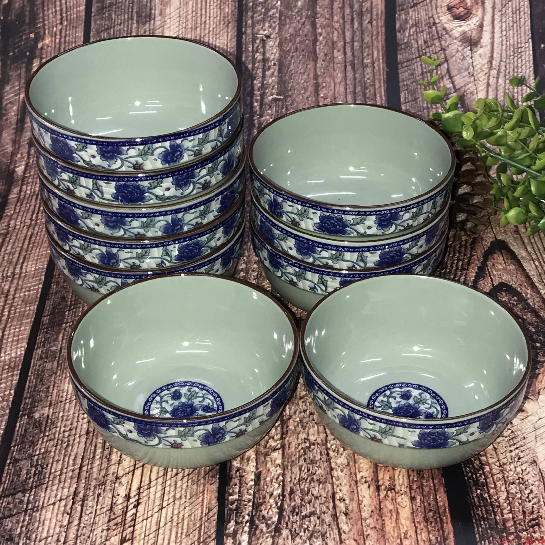 Eat rice bowl of blue and white porcelain household ceramic bowl of soup bowl edge thickening Chinese wind restoring ancient ways tableware 10 m jobs