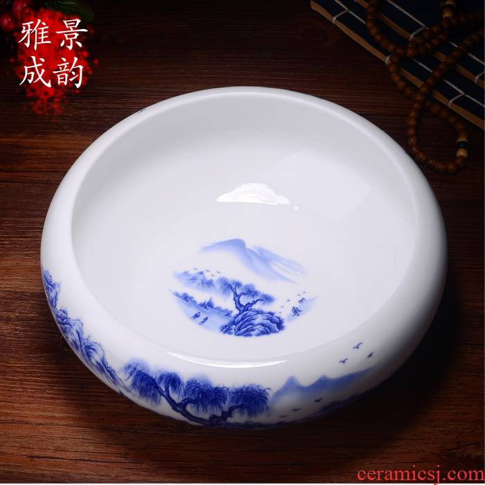 Jingdezhen ceramic blue and white porcelain cup tea accessories kung fu tea wash to wash to the writing brush washer from large tea furnishing articles