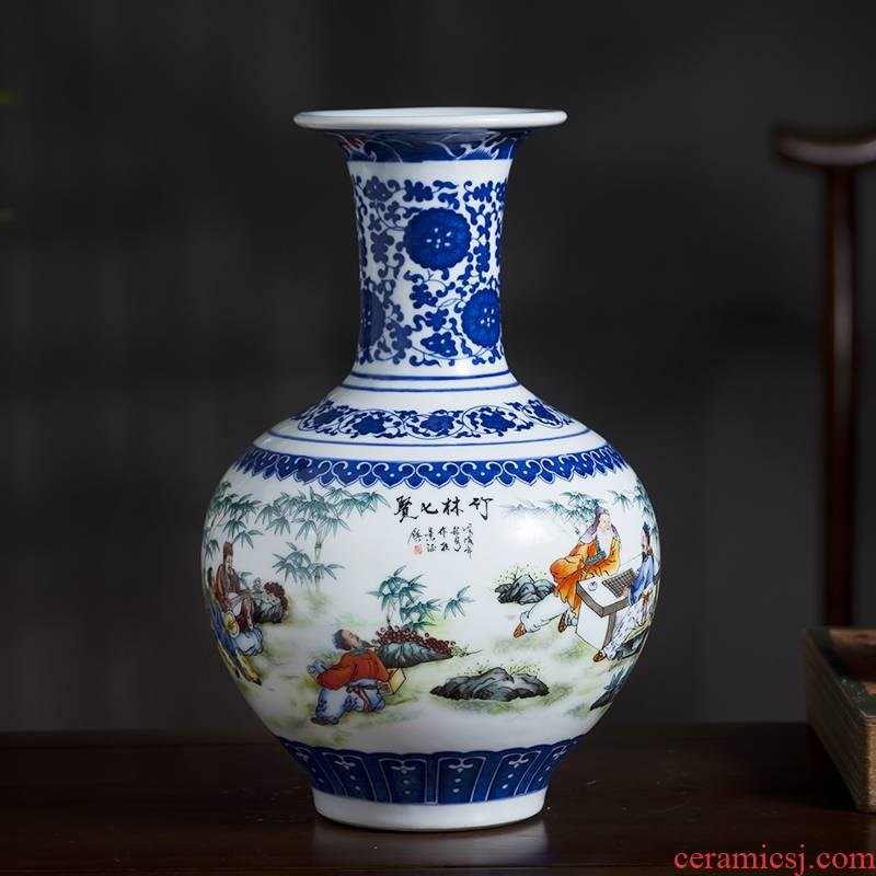 Jingdezhen ceramics bucket color blue and white porcelain vase furnishing articles of new Chinese style living room TV cabinet flower arrangement home decoration