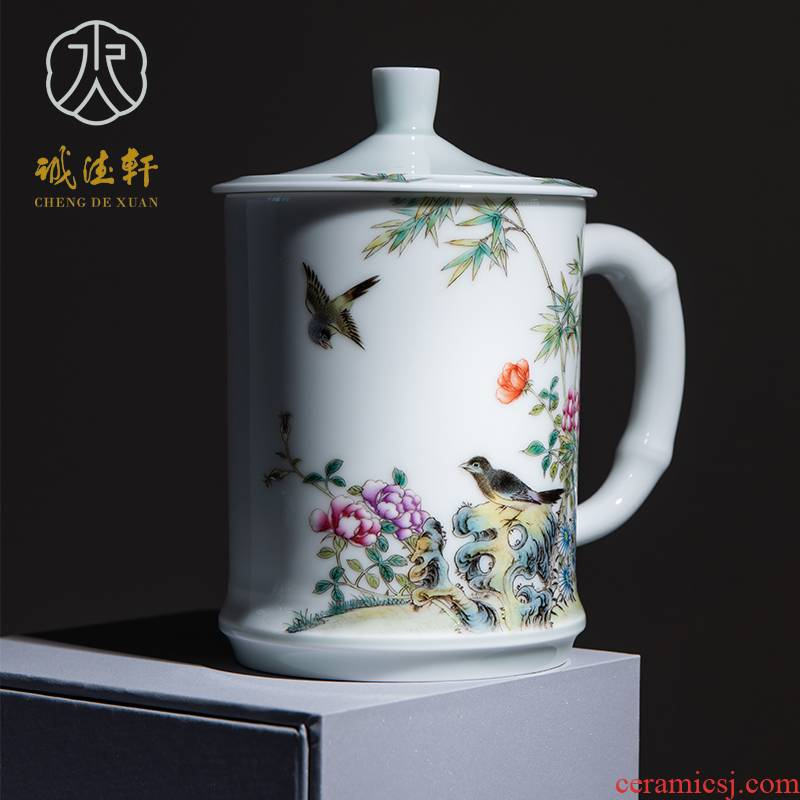 Cheng DE xuan jingdezhen hand - made pastel office cup 1 cup high - grade fine spring breeze in the bamboo