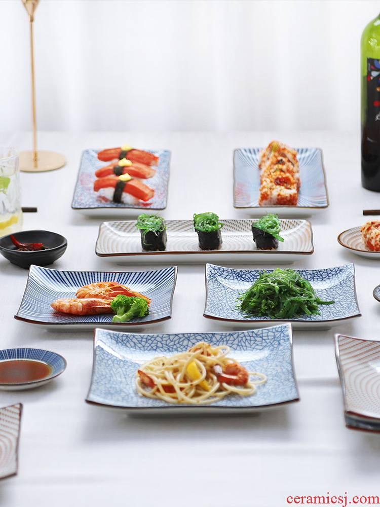 Ceramic dish dish dish household combination fish plate of Japanese new small pure and fresh and creative large rectangular mesh HongCan plate
