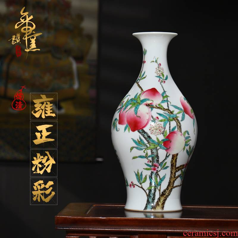 Emperor up jingdezhen ceramics hand - made antique vase bats peach grain olive bottle decoration process sitting room furnishing articles