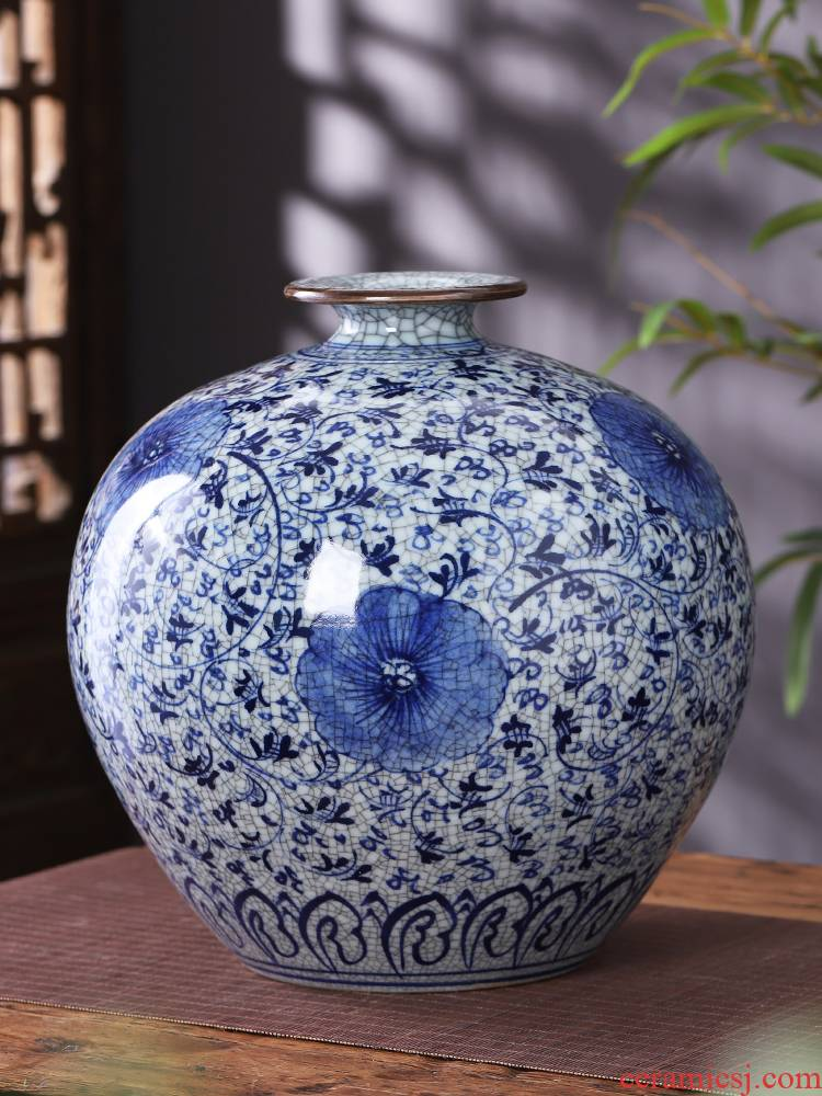 Jingdezhen ceramics antique hand - made of blue and white porcelain vases, flower arrangement to restore ancient ways furnishing articles classical home sitting room adornment