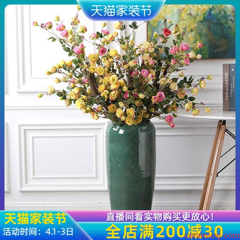 Jingdezhen landing big vase fake flowers furnishing articles sitting room furniture decoration landing simulation flower arrangement home decor
