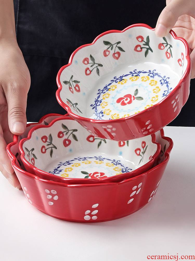 J together scene Japanese - style tableware ceramic bowl of fruit salad bowl such use creative hand - made lace household jobs move