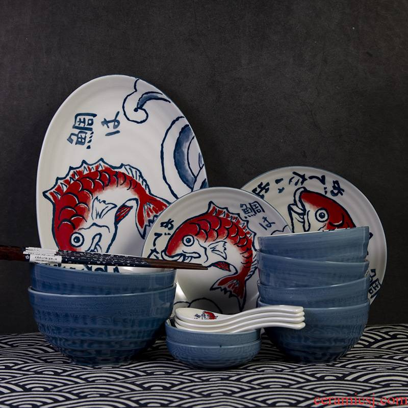Japanese under glaze color porcelain dishes snapper household jobs rainbow such as bowl disc porringer flavour dish of fish plate tableware suit
