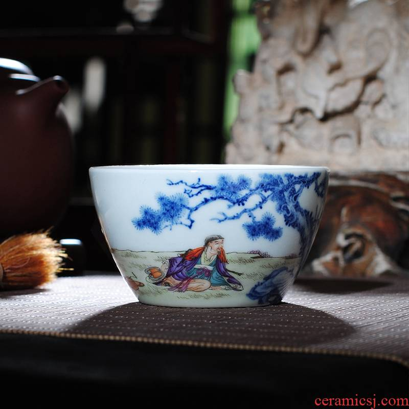 Owl up jingdezhen blue and white enamel see colour master cup tea cup drawing from the single CPU hand - made of glass
