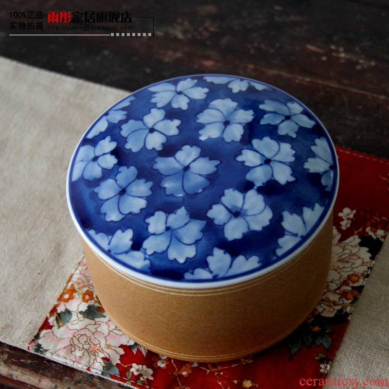 Rain tong home | jingdezhen ceramics creative household porcelain tea pot loose tea caddy fixings and pure and fresh style