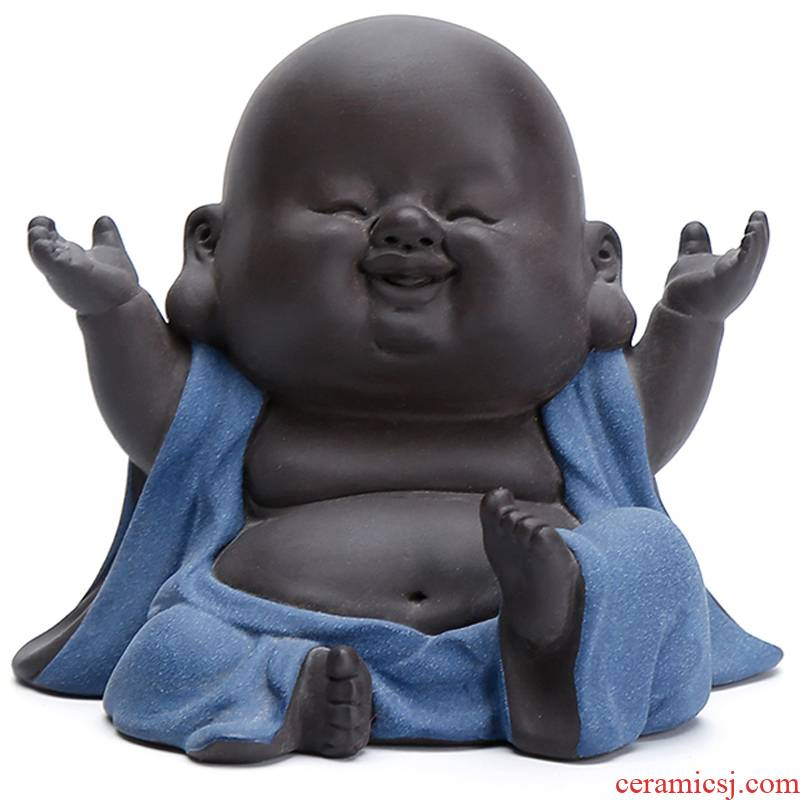 Shadow enjoy happy laughing Buddha Buddha lovely pet furnishing articles purple sand tea play home decoration decoration HBZP zen tea
