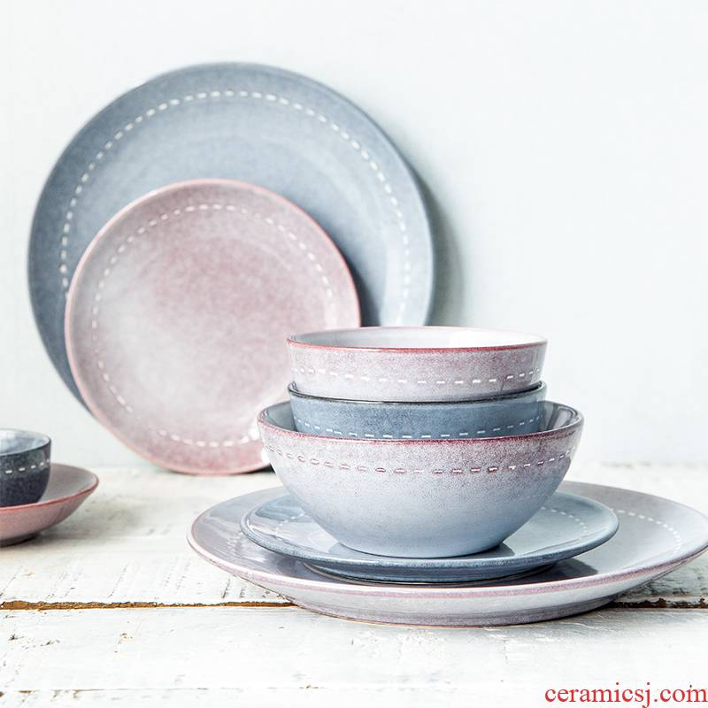 Japanese and wind crockery bowl rainbow such to use single only 0 flat the individuality creative dishes side dishes