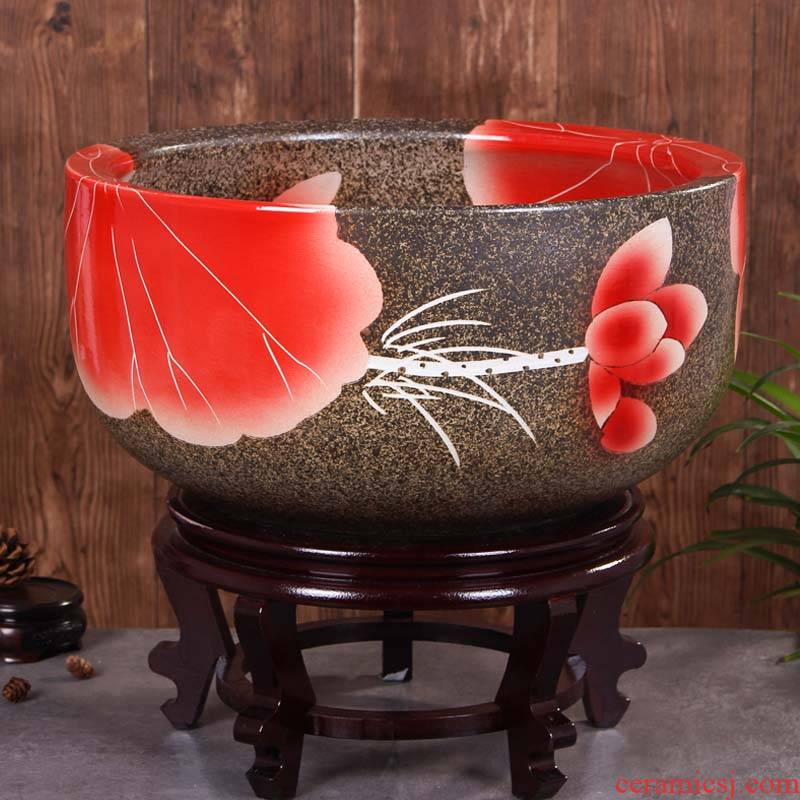 Jingdezhen ceramic aquarium raising goldfish bowl lotus lotus basin tortoise cylinder tank sitting room place lotus
