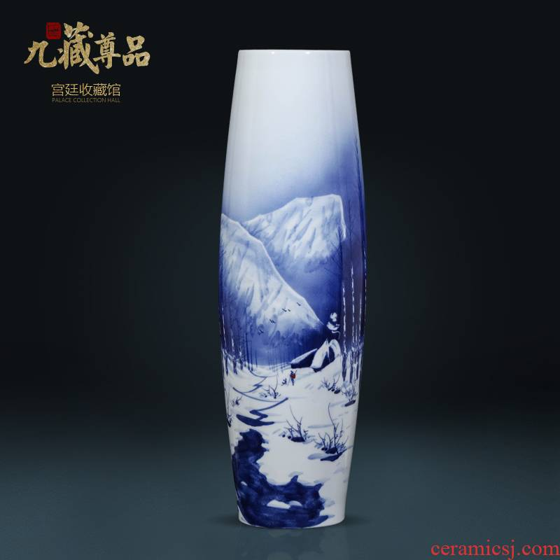 Jingdezhen ceramics hand - made snow of blue and white porcelain vase Chinese style living room TV ark, flower arranging porch is decorated furnishing articles
