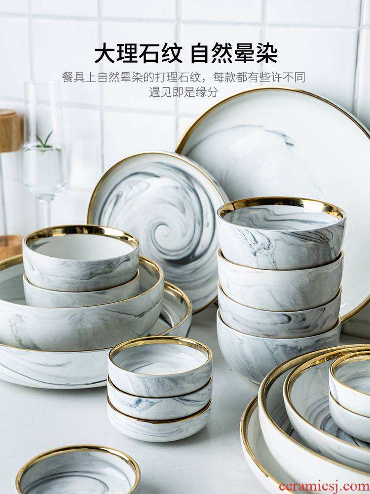 Modern housewives Nordic up phnom penh tableware ceramic bowl dish deep dish dish dish marble household tray was the food dish