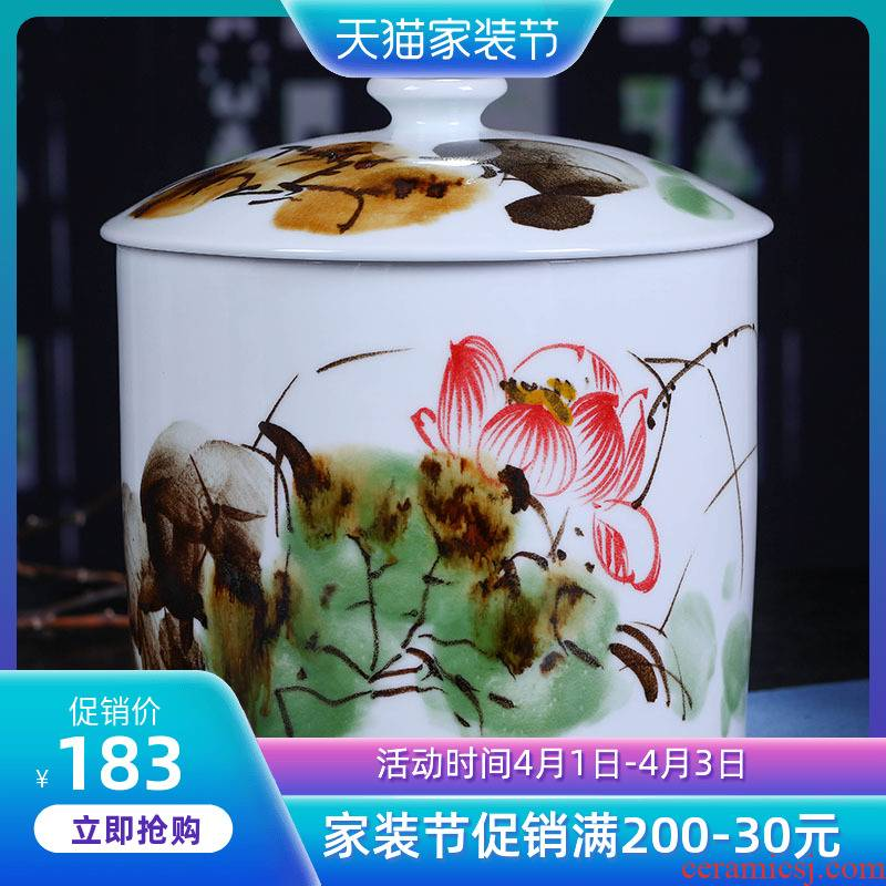 Jingdezhen ceramic large lotus tea pot tea cake tea pot moistureproof hand - made home household restoring ancient ways