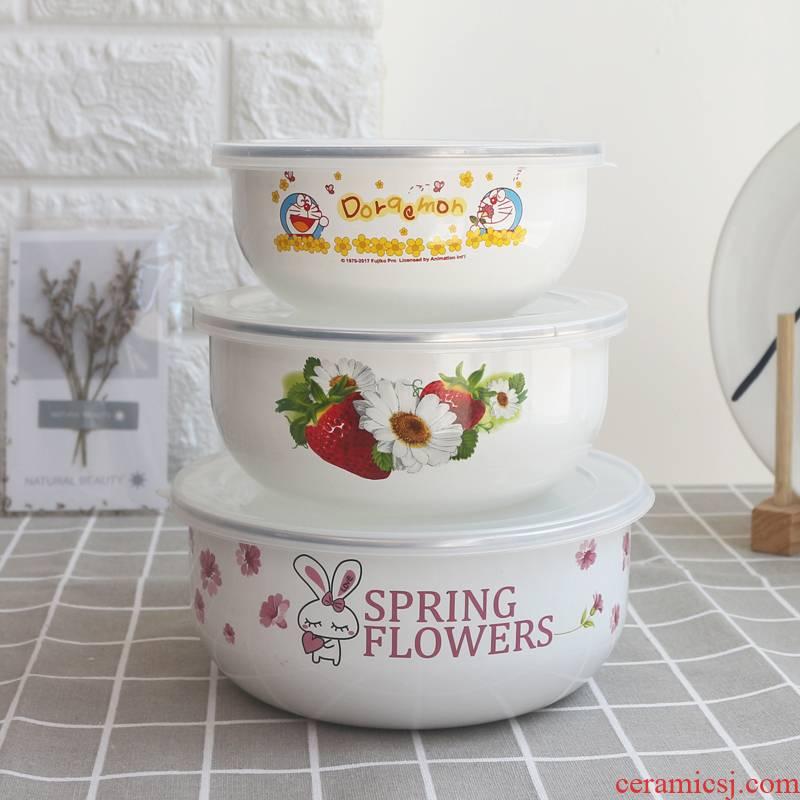 7 see colour enamel three - piece preservation bowl bowl 121416 cm with zero box cover a refrigerator salad bowl