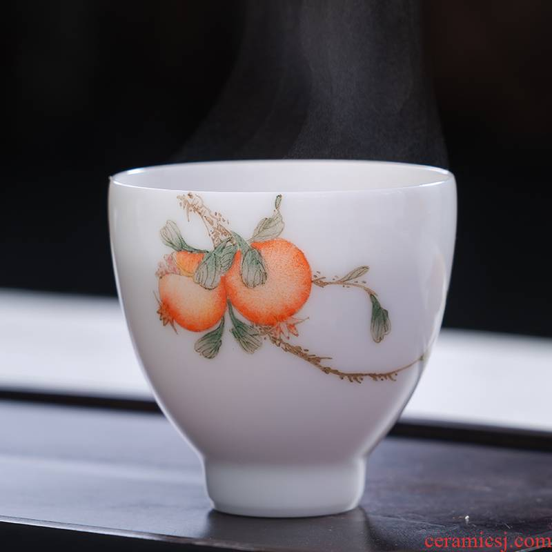 Jingdezhen ceramic tea set kung fu teacups hand - made master cup sample tea cup single cup, small cup of tea cup by hand
