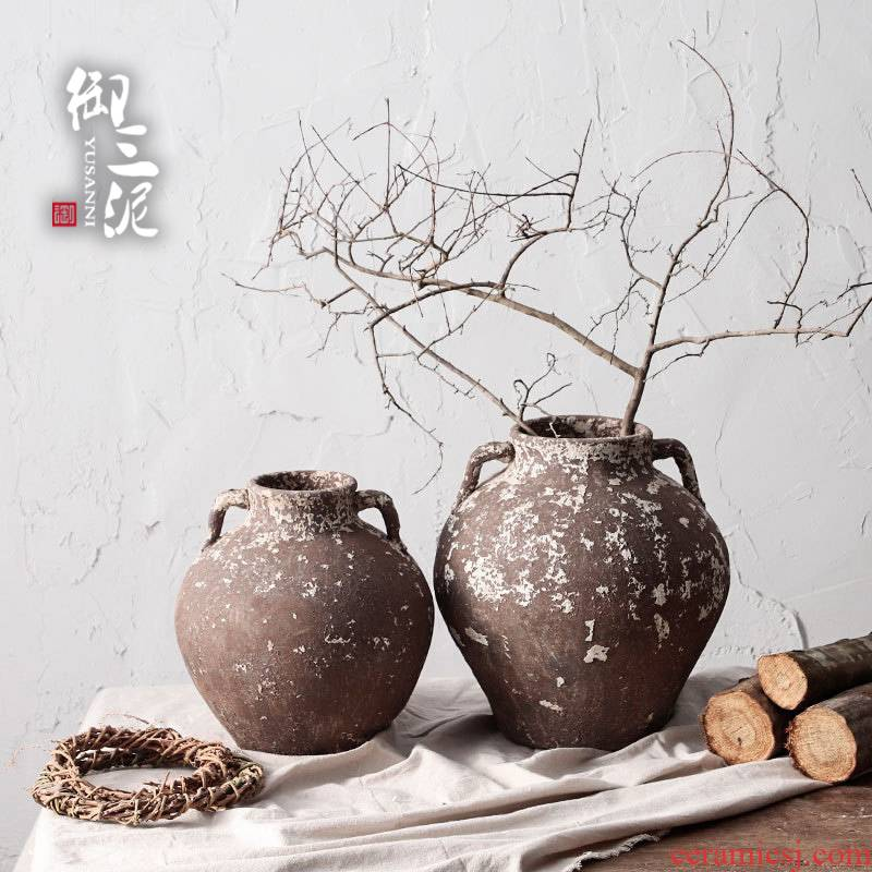 Manual coarse TaoHua device do old pottery jingdezhen flowers floral dry Japanese teahouse zen flowerpot vase decoration