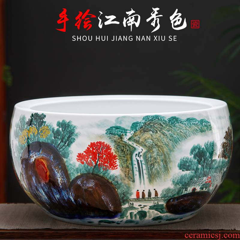 Jingdezhen ceramics hand - made refers to goldfish GangPen basin of a water lily bowl lotus cornucopia large - sized tank