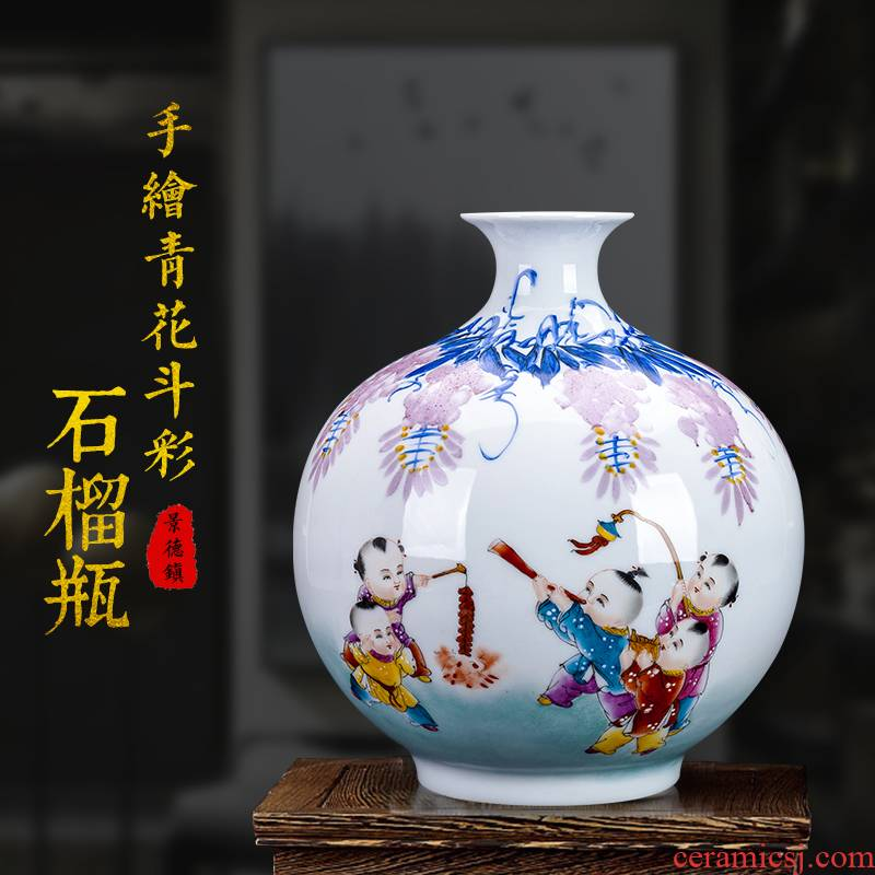 Jingdezhen ceramics bucket color of blue and white porcelain vase flower arranging pomegranate bottle of new Chinese style living room porch rich ancient frame furnishing articles
