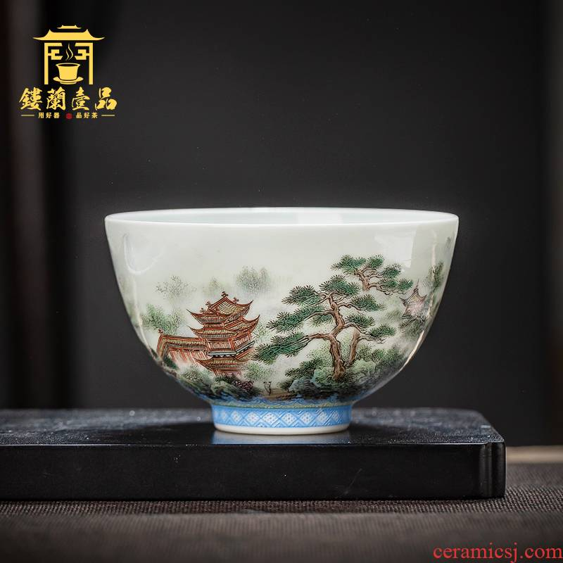 Jingdezhen ceramic all hand pastel landscape master cup kung fu tea set large tea cup single cup big bowl