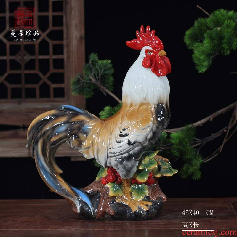 Jingdezhen ceramic rooster color porcelain rooster hen rooster furnishing articles auspicious rooster ceramic porcelain