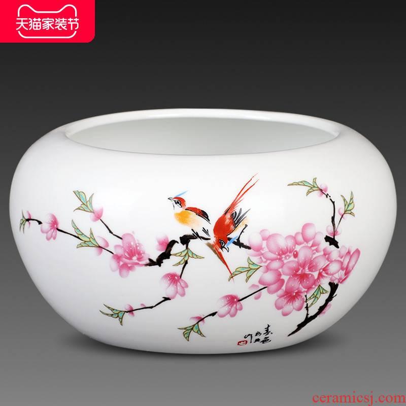Jingdezhen ceramic creative big ashtray sitting room place practical tea to wash to the writing brush washer tea sea retro fashion and move