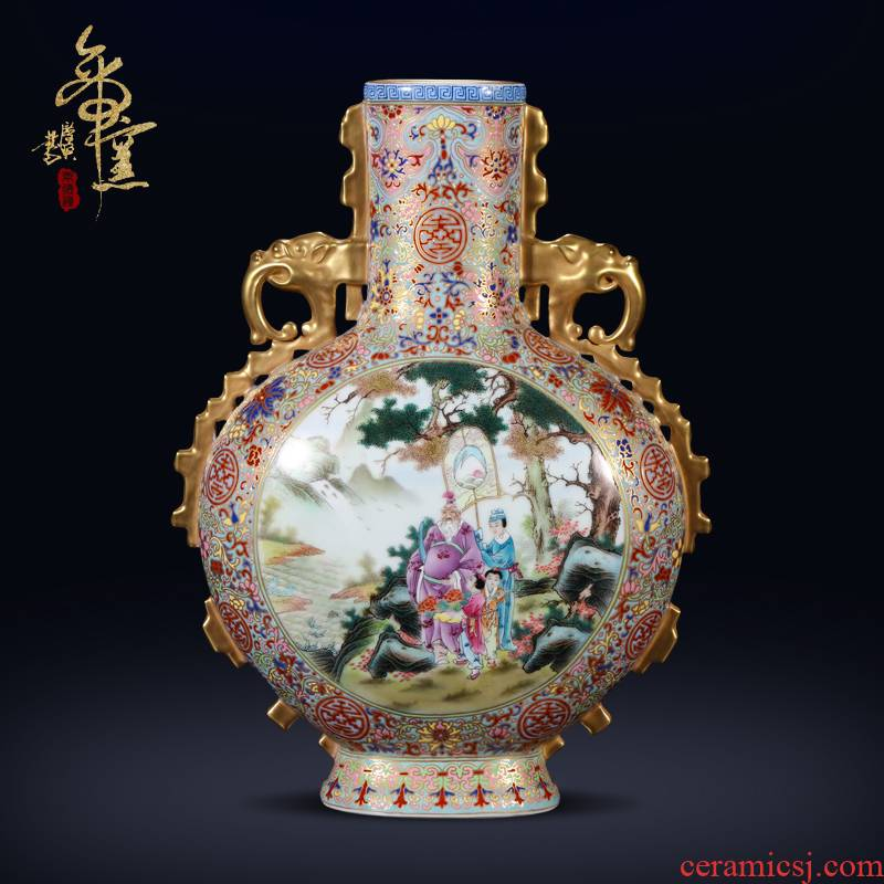 The Qing qianlong emperor up to pastel yellow gold medallion figure 's story ji elephant ears flat bottles of jingdezhen porcelain vase
