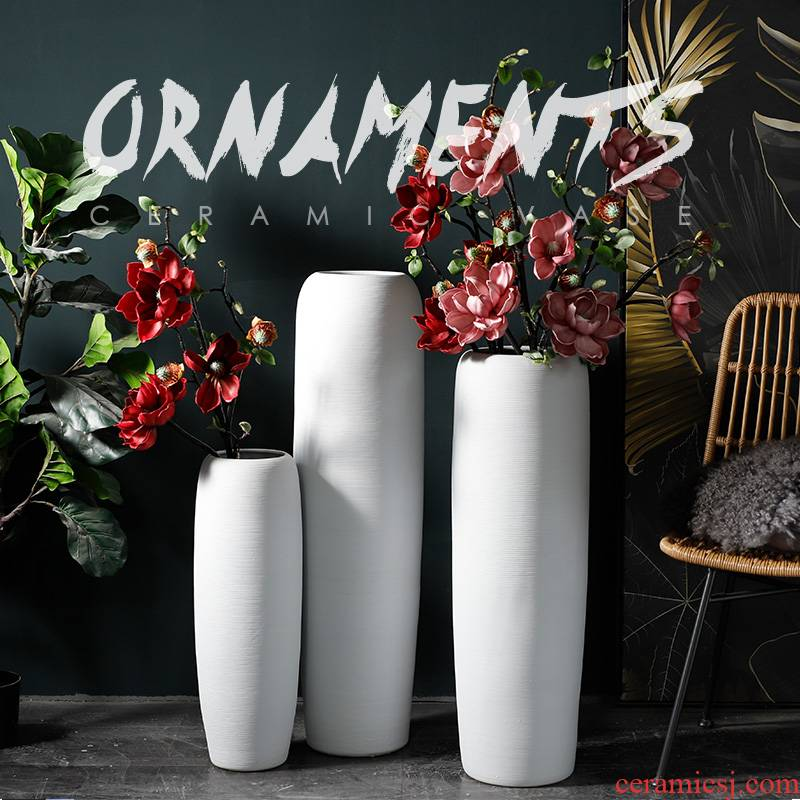Nordic dried flower vases, flower arrangement sitting room ground furnishing articles minimalist modern contracted white ceramic window thread line
