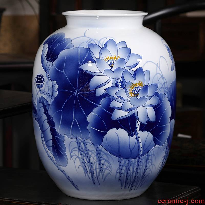 Jingdezhen ceramics hand - made archaize large blue and white porcelain vases, flower arrangement of Chinese style living room office decorations furnishing articles