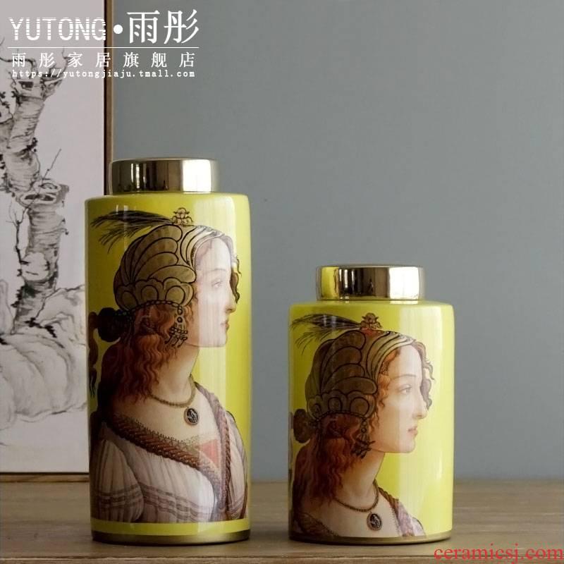 Rain tong home | jingdezhen ceramics European beauty home sitting room place a drum home outfit decoration porcelain painting