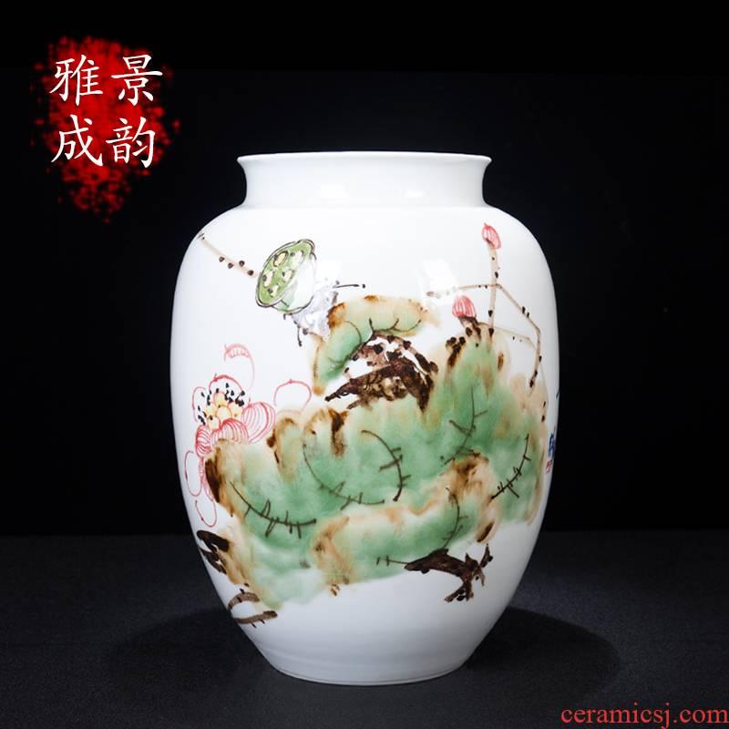 Jingdezhen ceramic new Chinese style harmony flower arranging vase decoration furnishing articles home sitting room process porcelain