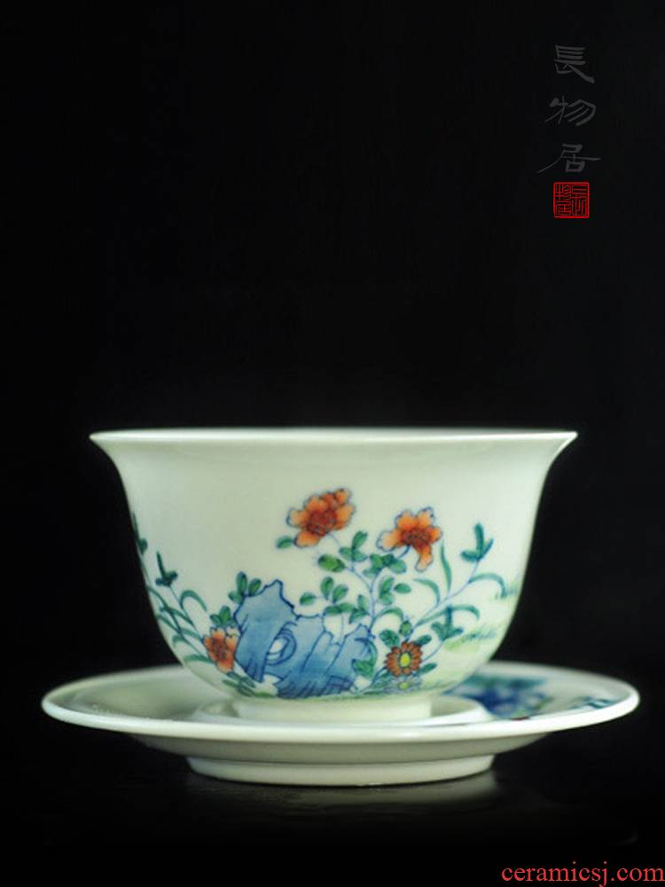 Offered home - cooked in imitation of yongzheng hand - made color bucket cylinder cup chicken jingdezhen checking ceramic sample tea cup with a cup of tea cups
