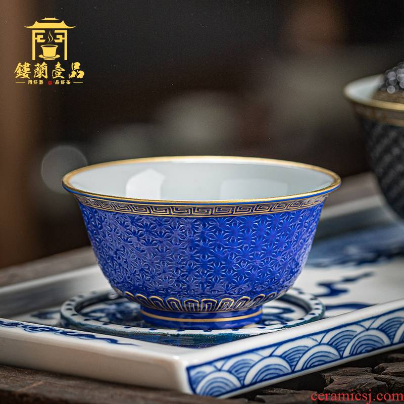 Jingdezhen ceramic all hand - made blue glaze see hand - cut single master of kung fu tea cup tea cup large bowl
