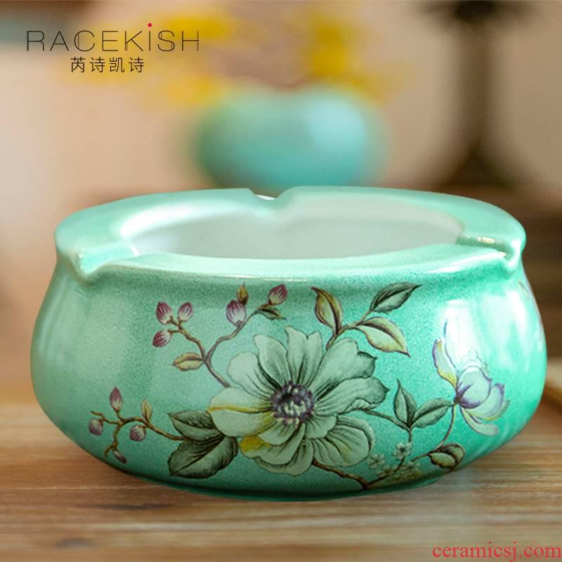 New Chinese style ceramic powder enamel ashtray large sitting room tea table ashtray American pastoral desktop furnishing articles home decoration