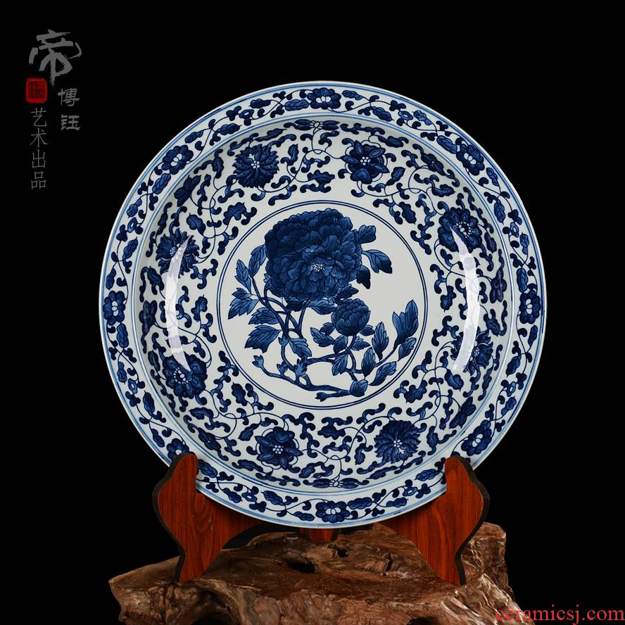 Jingdezhen blue and white peony ceramic decoration plate sit plate hang dish antique hand - made porcelain Chinese style porch study furnishing articles