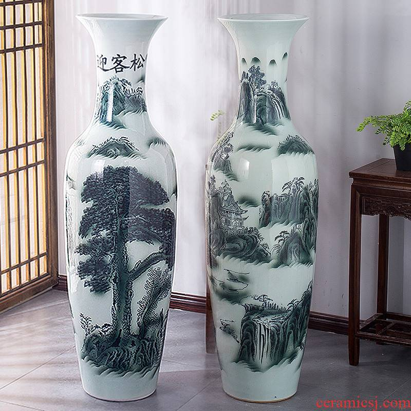 Jingdezhen ceramic vase big sitting room place floor hotel opening gifts guest - the greeting pine modern decoration