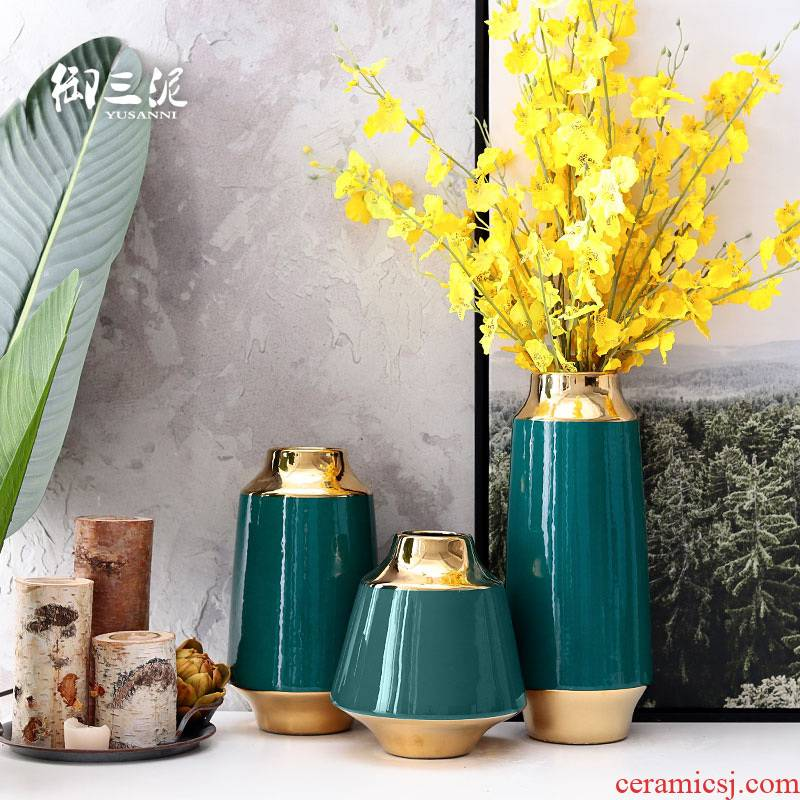Lucky bamboo vase desktop household American TV ark, the flower adornment sitting room of I and contracted furnishing articles ceramic arranging flowers