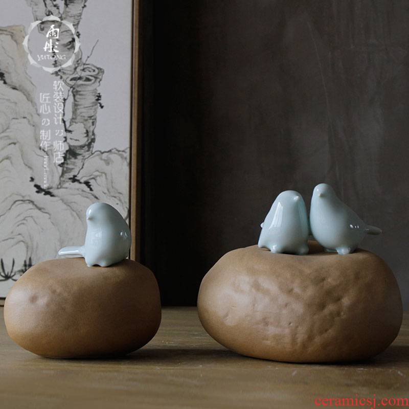 The rain tong home | ceramic creative modern adornment installs soft outfit furniture green glaze bird pay-per-tweet resting place