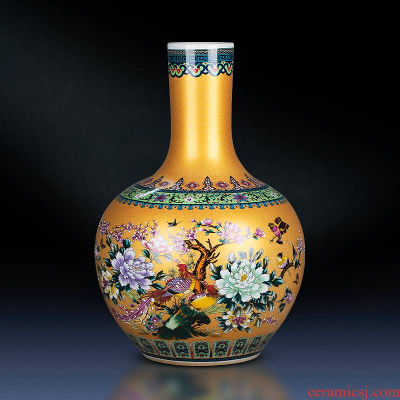 Jingdezhen ceramics golden pheasant colored enamel vase landing place flower arrangement sitting room European - style decorative household items